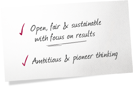 Open, fair & sustainable with focus on results Ambitious & pioneer thinking
